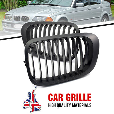 Front Kidney Grill Grille For BMW E46 2-Door Coupe 1998-2000 2001 Matte Black