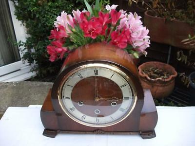 Smiths Walnut 8 Day Westminster Chiming Mantel Clock. 1955. Fully Overhauled.