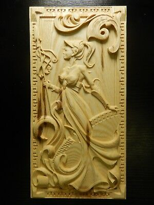 Wood carved picture wall decoration plaque. Lady warrior with a spear. Good gift