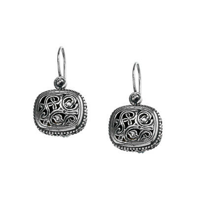 Gerochristo 1201N ~ Sterling Silver Medieval-Byzantine Drop Hook Earrings