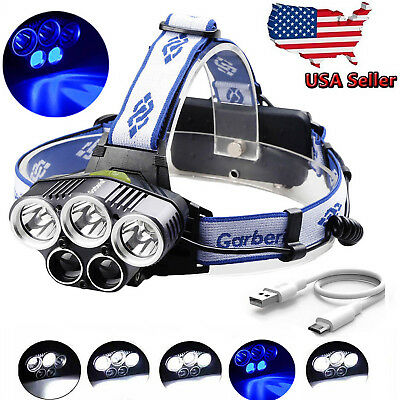 150000LM 5LED Headlamp USB Rechargeable 18650 Headlight Flashlight Hunting Lamp