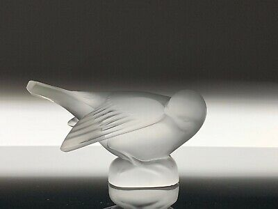 """Lalique Vintage French Art Glass Frosted Love Bird 4.5"""" Long Signed"""