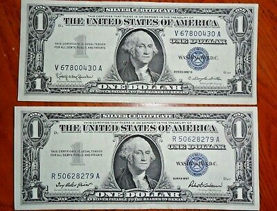 Choice Crisp UNC Series 1957 $1 One Dollar SILVER Certificates - Lot of 2