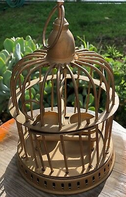 Vintage Metal BIRD CAGE Hanging Decorative Gold w/ Swing and Feeding Cups GUC