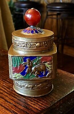 Antique Chinese Cloisonne Enamel and Brass Tea Caddy W/ Red Peking Glass Finial