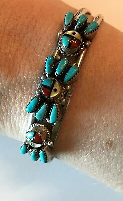 Original Vintage Authentic Native American Zuni Inlay Bracelet from Late 80's