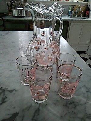 Antique Hand-painted ruffled rim Glass Pitcher and Four tumblers, Floral, gilt