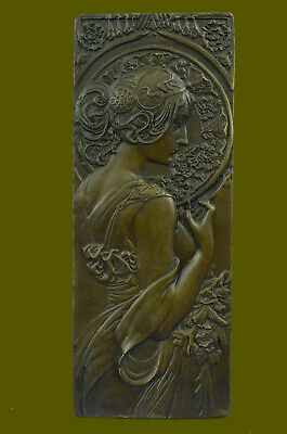 Art Nouveau The Blonde Large Bronze Plaque  Signed by Mucha, Lost Wax Method NR