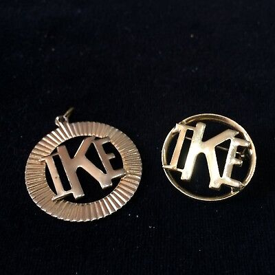 Vintage IKE Campaign Lot Goldtone Medal & Pin/Brooch~President Dwight Eisenhower