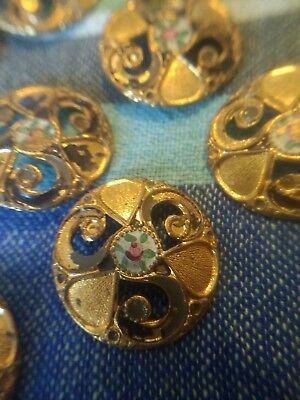 Vintage French Button Lot Of 9 Hand Painted