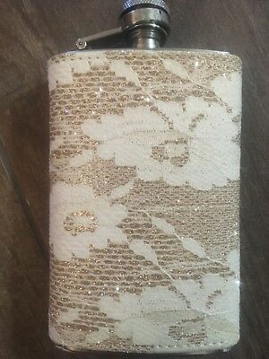 Tan Girly Glittery Flask. New. Vintage Style.