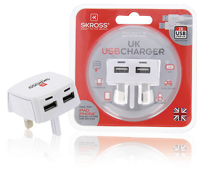 SKROSS UK Mains Wall 3 Pin Plug Adaptor Charger with 2 USB Ports