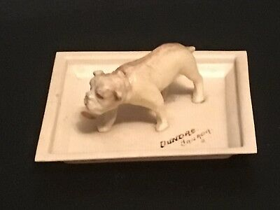 Antique FRENCH IVORY Small  Dish DOG Figurine Staffordshire Terrier Plate