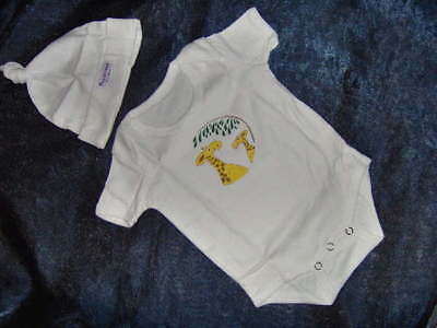 Beautiful Baby Bodysuit & Hat With Motif  - Sizes 0-6M - 6-12M