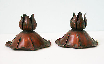 "Arts And Crafts Copper Candle Holders, stamped ""Craftsman Inc. Handmade"""