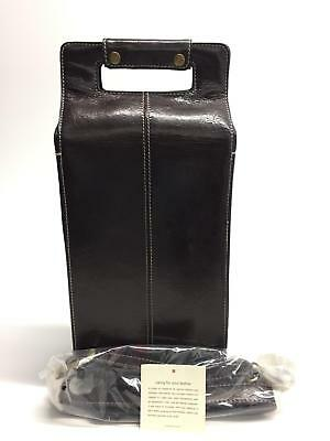 Red Envelope Chocolate Brown Leather 2 Bottle Wine Carrier Tote Bag w/ Strap