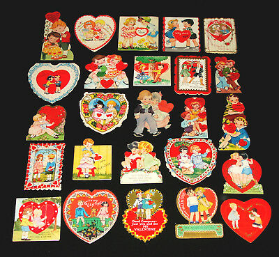 Lot 25 Vintage Valentine Greeting Cards With Cute Couples - Sweethearts In Love