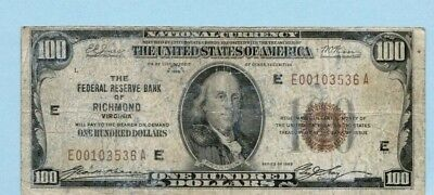 1929 Brown Seal $100 Bill National Currency Federal Reserve Bank of Richmond