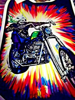 """VINTAGE BLACK LIGHT POSTER """"motorcycle new old stock chopper pyschedelic"""