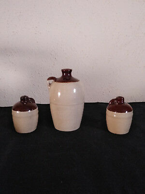 Vintage Stoneware Ceramic Small Whiskey Jug Crock Marked USA & S&P Shakers