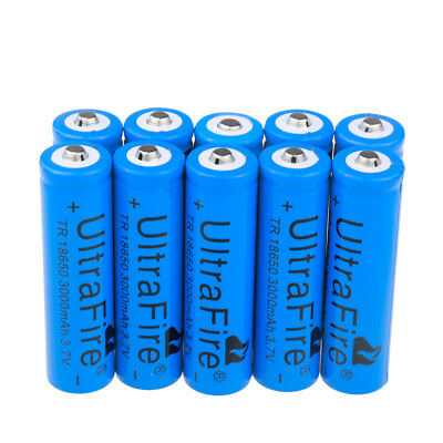 10-Pack Ultrafire 18650 3000mAh Li-ion 3.7V Rechargeable Batteries for Torch USA