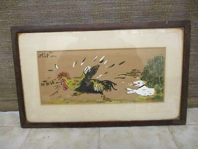 Small Vintage Original Painting Humorous Turkey and Dog Signed W.F.Atkin