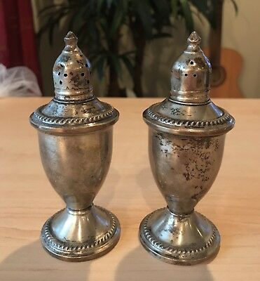 Vintage Sterling Silver Weighted Salt Pepper Shakers Set Duchin Creation