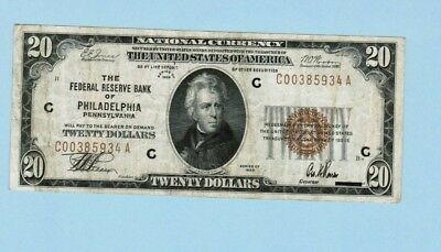 1929 $20 NATIONAL CURRENCY Federal Reserve Bank of PHILADELPHIA, PA