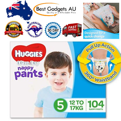 Huggies Ultra Dry Nappy Pants, Boys, Size 5 Walker (12-17kg), 104 Count New