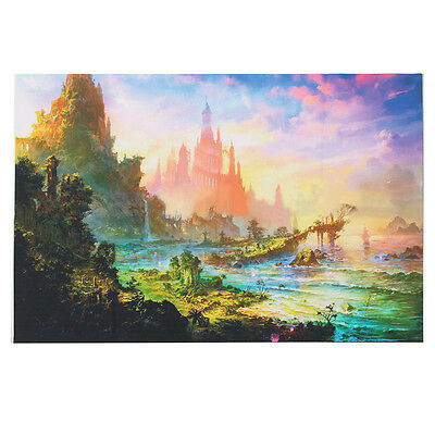 Psychedelic Trippy Art Silk Fabric Cloth Castle Poster Wall Decor 36x24inch hot