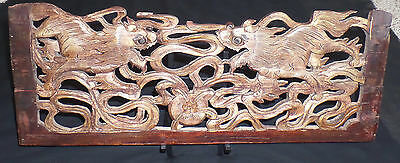 """Old Chinese Qing Dynasty 21"""" x 8"""" Elm Wood Sculpture of Two Guardian Lions """"Shī"""""""