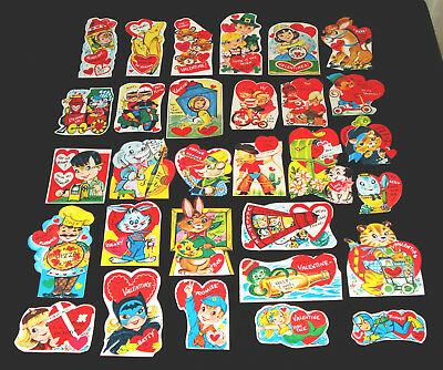 Lot 30 Unused Vintage Very Thin Paper Valentine Cards For Crafts From Playbookss