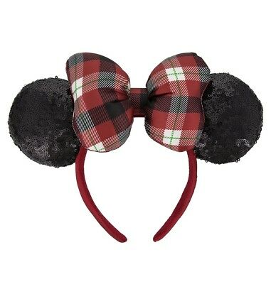 Disney Parks Minnie Mouse Holiday Ears Headband Adults Red Plaid Bow Sequins New