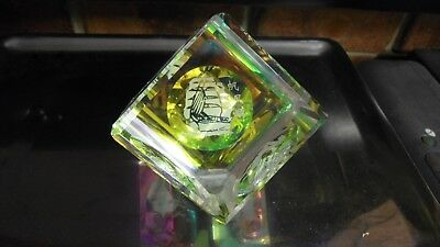 Exquisite Solid Carnival Crystal Glass Cube ~ Acid Etched, Chinese