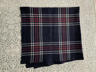 Antique Home Spun 100% Wool Navy Plaid Blanket With Stitched Repairs
