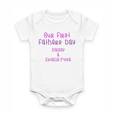 Cute Baby Clothes - Romper with print - Our First Father's Day.