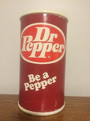 "Vintage Dr Pepper Soda Can  Plastic Coin Bank 9 1/2"" Tall ""be A Pepper"""