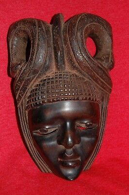 Antique African Harwood Mahogany Hand Carved Mask Africa Tribal Wall Decor Head