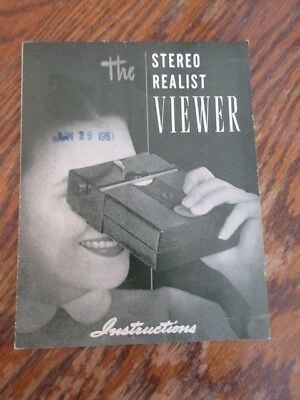 Vintage The Stereo Realist Viewer Original Instruction Manual - June 29 1951