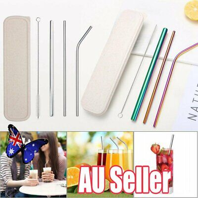 Stainless Steel Metal Drinking Straw Reusable Straws + Cleaner Brush Set Kit  NW