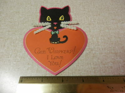Vintage Valentines Day Card Black Cat Kitty Cat with Whiskers Unbranded