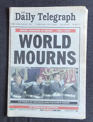 Diana: The World Mourns - Daily Telegraph (Sydney) 1 September 1997