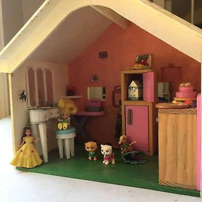 Wooden Doll House with Furniture for Children, Hand-painted Pink/Blue/Yellow