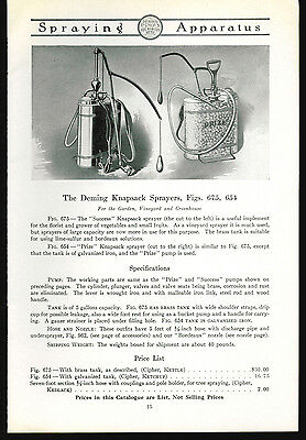 1918 Deming Pumps Catalog Page Ad Knapsack Sprayers Salem Ohio