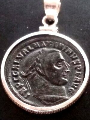 Maximinus II Large AE2 Genuine Ancient Roman Coin Sterling Silver Bezel Pendant