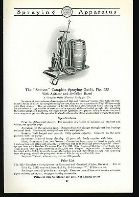 1918 Deming Pumps Catalog Page Ad Samson Complete Spraying Outfit Salem Ohio