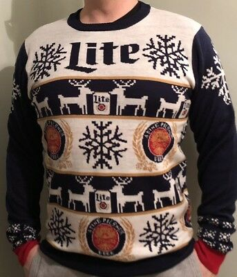 5d3b7989c MILLER LITE BEER Long Sleeve Holiday Sweater Size LARGE 2017 Super ...