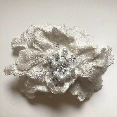 Bridal Floral Headpiece Comb Embroidered & Pearl/Diamanté Beading
