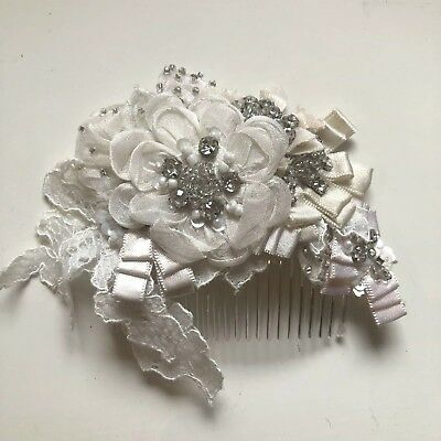 Bridal Floral Headpiece Comb Embroidered, Lace & Pearl/Diamanté Beading