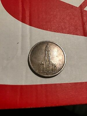 "1934 ""D"" GERMANY Silver 5 Reichsmark  in XF Condition."